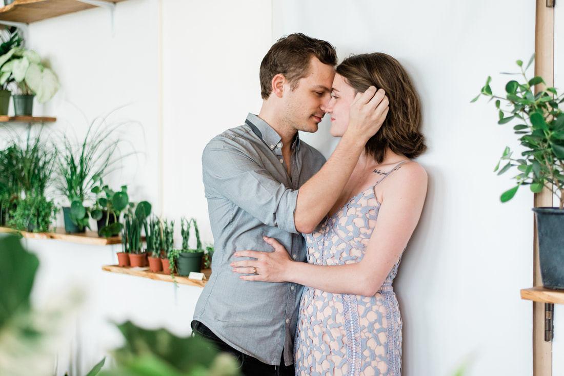 Bellingham engagement session photos, Baby Greens plant shop, Caylie Mash Photography