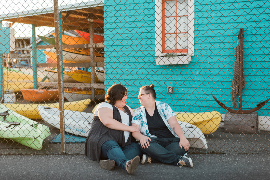 Bellingham, WA, Community Boating Center, Marine Park Engagement Session, Love, LGBTQ Engagement, Caylie Mash Photography