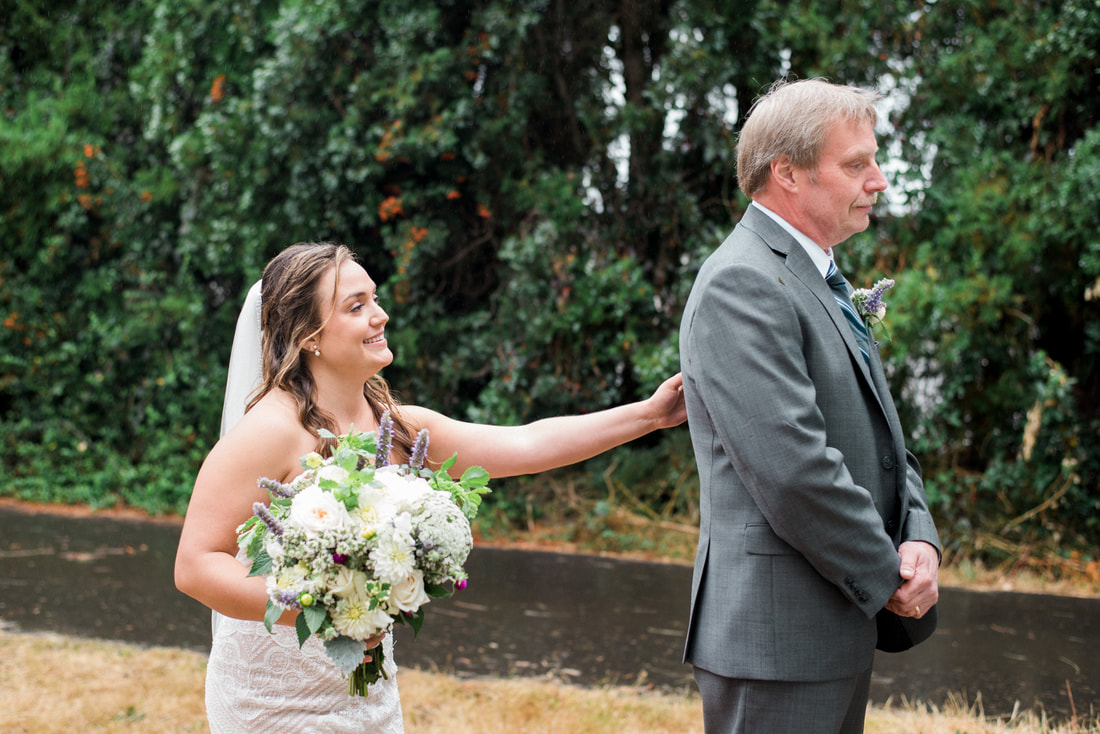 Caylie Mash Photography, Bellingham Washington Wedding and Engagement Photographer, Whatcom County, Rainy Pacific Northwest Backyard Wedding, PNW, Father First Look