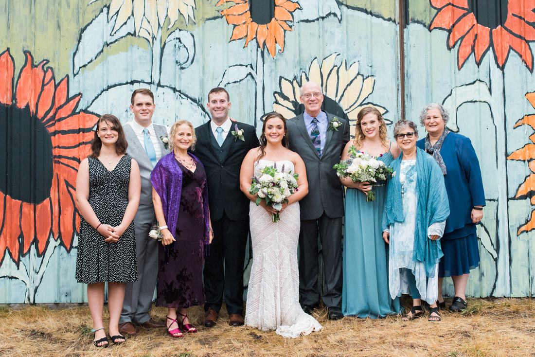 Caylie Mash Photography, Bellingham Washington Wedding and Engagement Photographer, Whatcom County, Rainy Pacific Northwest Colorful Backyard Wedding, PNW, Family Formals, Sunflower Wall