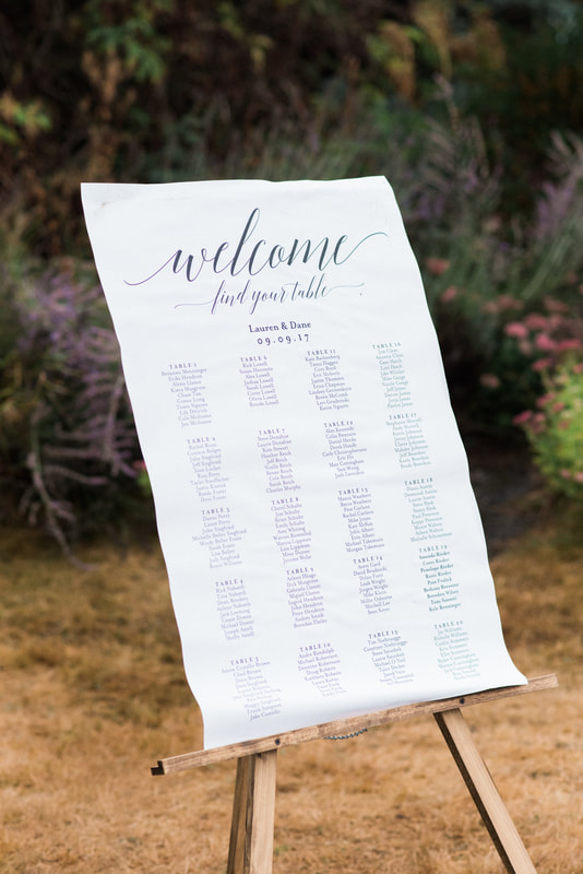 Caylie Mash Photography, Bellingham Washington Wedding and Engagement Photographer, Whatcom County, Rainy Pacific Northwest Backyard Wedding, PNW, Reception, Seating Chart Calligraphy